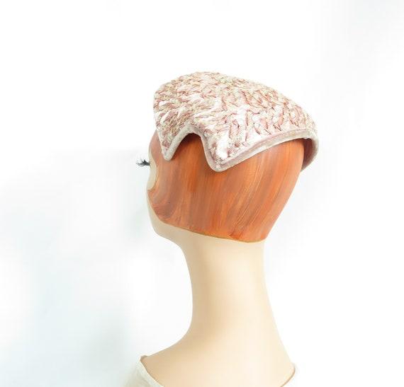 Vintage pink hat, woman's 1950s cocktail hat, seq… - image 3