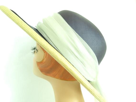 Vintage straw hat, woman's blue summer 1970s hat,… - image 9