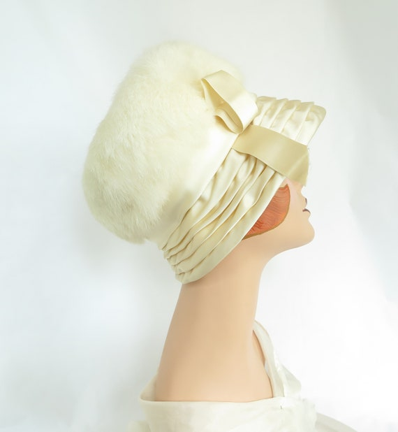 1960s fur hat, vintage rabbit fur, satin bucket ha