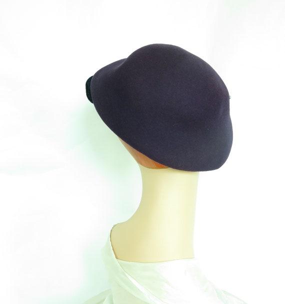 Vintage purple hat, woman's 1940s tilt, rhineston… - image 3