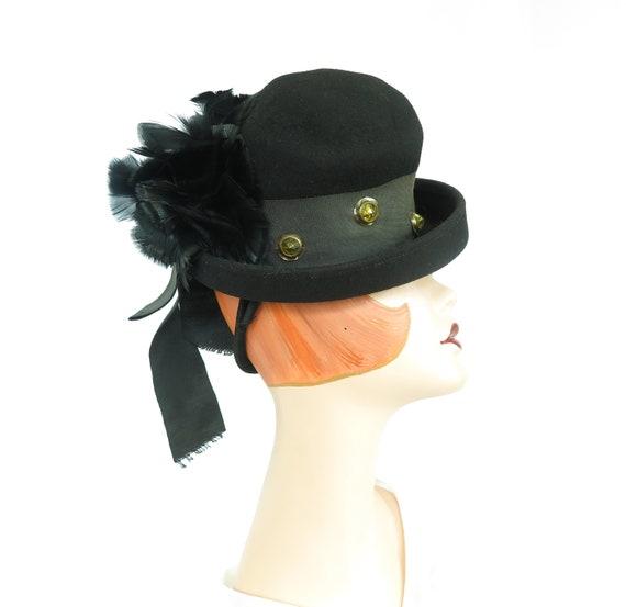 Vintage Steampunk hat, 1930s black tilt, woman's p