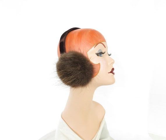 vintage fur earmuffs, rabbit fur, velvet headband