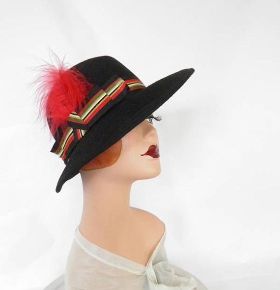 Black fedora hat, vintage woman's Fabini, 1960s 1… - image 1