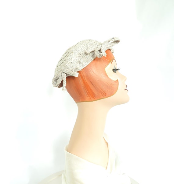 1930s calotte hat, vintage gray straw, woman's Ju… - image 3
