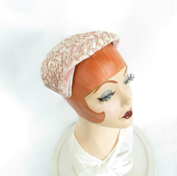Vintage pink hat, woman's 1950s cocktail hat, seq… - image 5