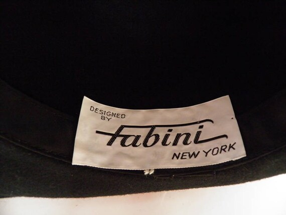 Black fedora hat, vintage woman's Fabini, 1960s 1… - image 8