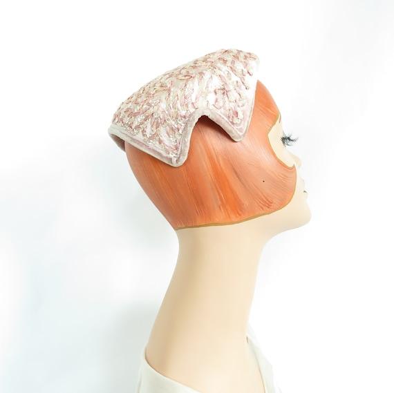 Vintage pink hat, woman's 1950s cocktail hat, seq… - image 2
