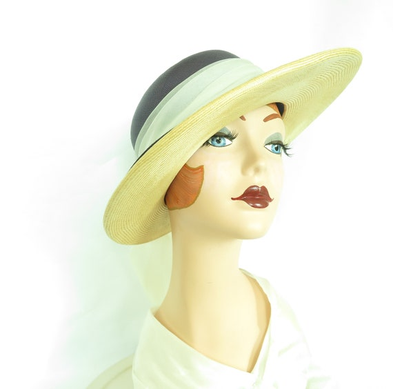 Vintage straw hat, woman's blue summer 1970s hat,… - image 6