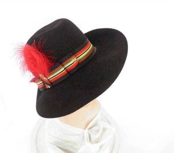 Black fedora hat, vintage woman's Fabini, 1960s 1… - image 4