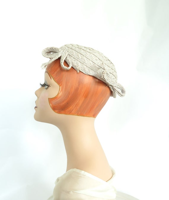 1930s calotte hat, vintage gray straw, woman's Ju… - image 4