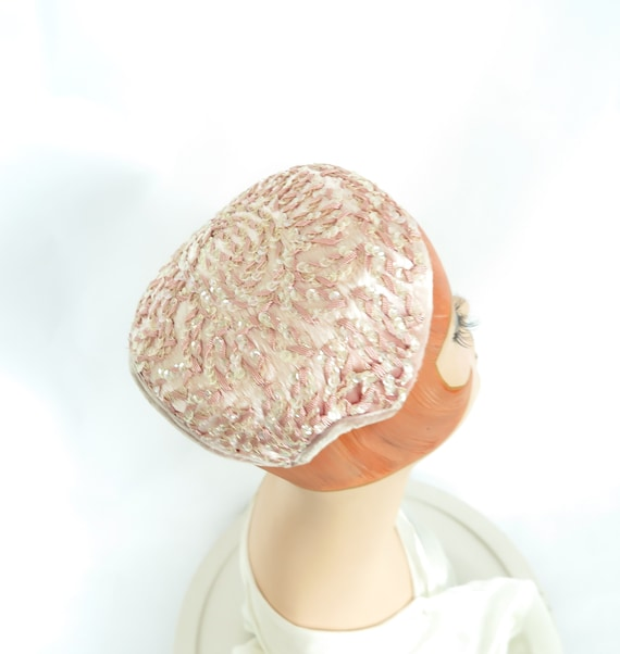 1950s pink hat, woman's vintage cocktail hat, sequ