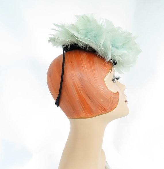 Aqua feather hat, vintage 1940s tilt, woman's fasc