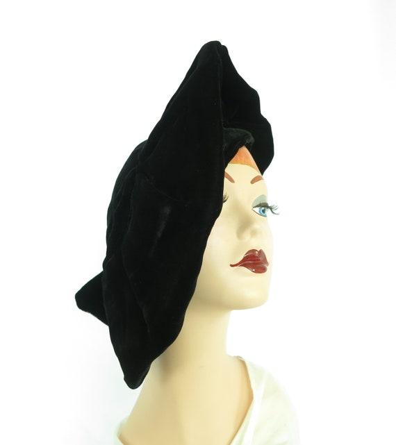 Woman's 1940s platter hat. Vintage black beret, v… - image 7