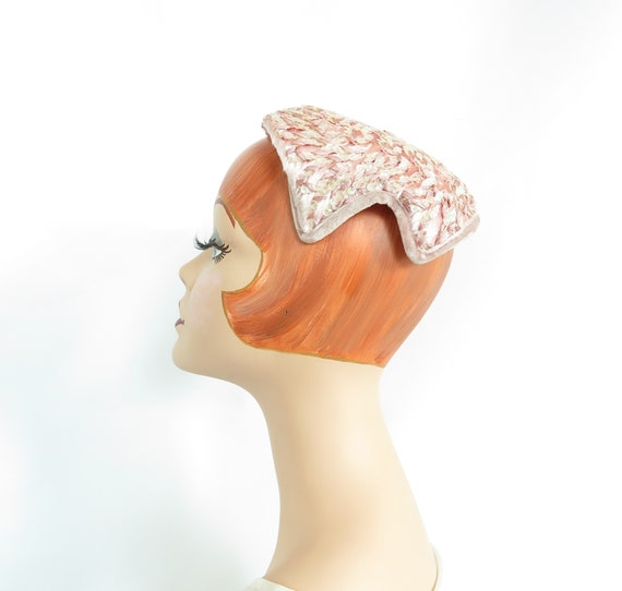 Vintage pink hat, woman's 1950s cocktail hat, seq… - image 1