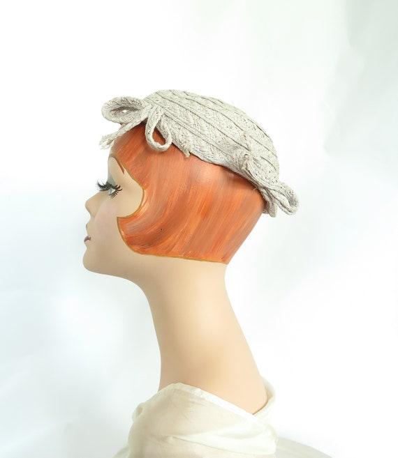 1930s calotte hat, vintage gray straw, woman's Ju… - image 7