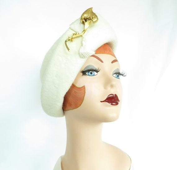 Vintage 1960s hat, woman's white Breton, gold pin
