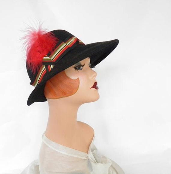 Black fedora hat, vintage woman's Fabini, 1960s 1… - image 2