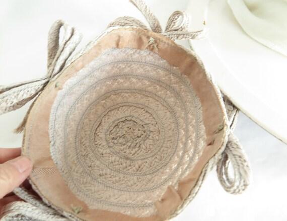 1930s calotte hat, vintage gray straw, woman's Ju… - image 9