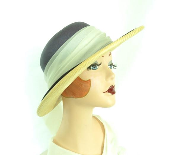 Vintage straw hat, woman's blue summer 1970s hat,… - image 1