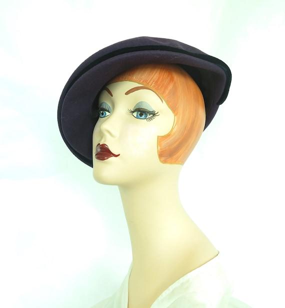 Vintage purple hat, woman's 1940s tilt, rhineston… - image 8