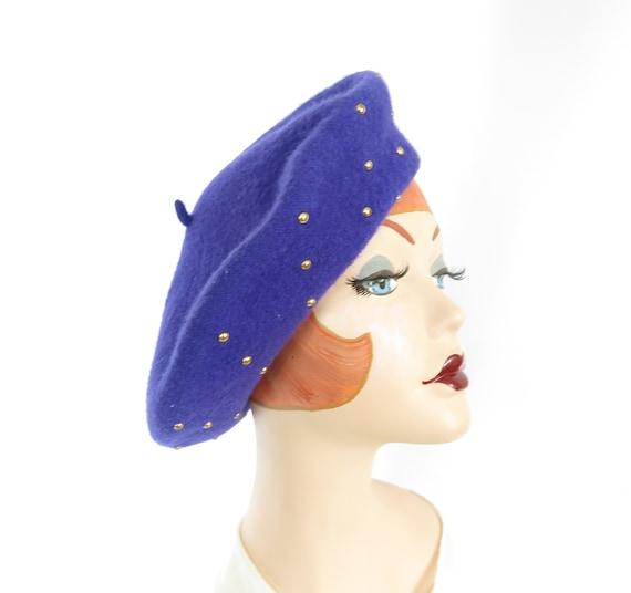 Vintage purple beret hat, gold beads, Czechoslovak