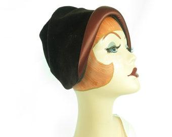 Woman's 1960s hat, vintage brown velour satin cloche