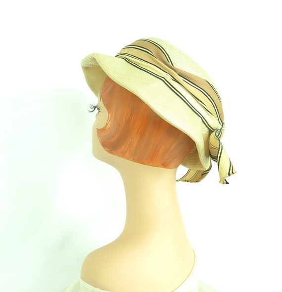 1960s vintage hat, women's straw summer tilt, mid… - image 5