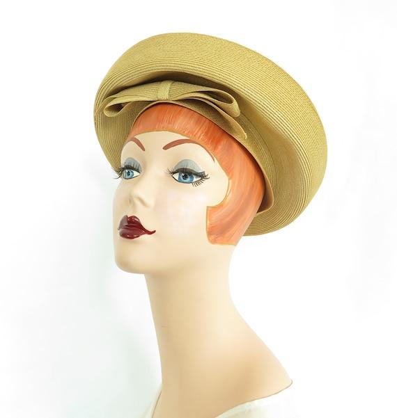 Vintage gold hat, 1960s saucer, woman's mid centur