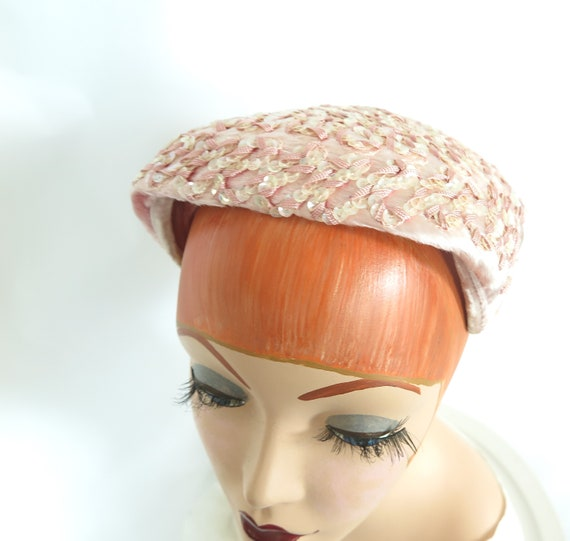 Vintage pink hat, woman's 1950s cocktail hat, seq… - image 8