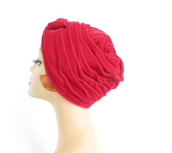 Vintage pink turban hat, 1960s woman's velvet