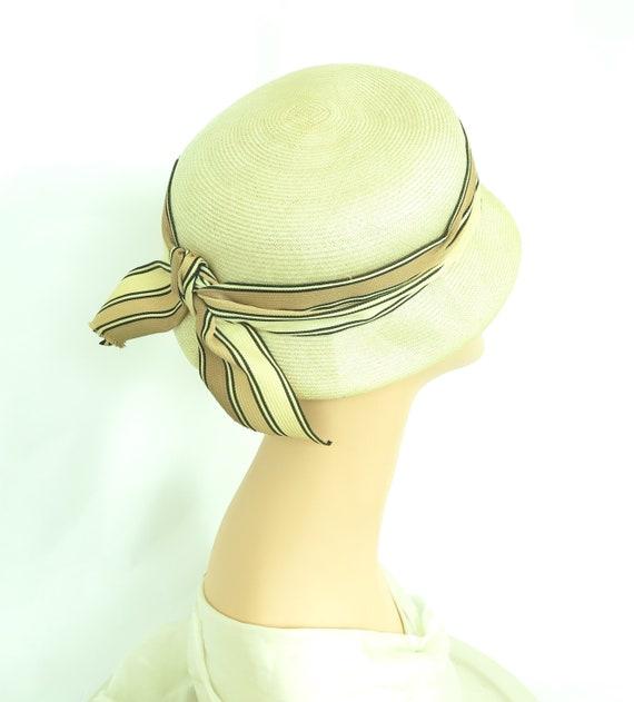 1960s vintage hat, women's straw summer tilt, mid… - image 3