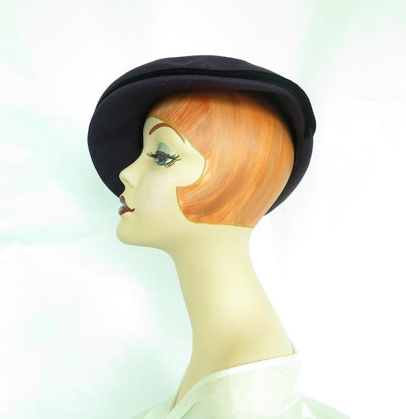 Vintage purple hat, woman's 1940s tilt, rhineston… - image 7