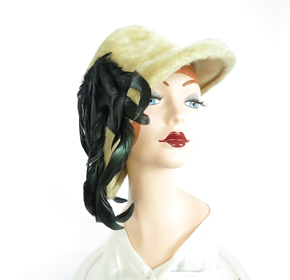 Vintage 1960s hat, feathers on bucket hat, woman's