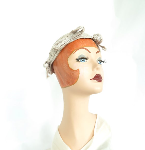 1930s calotte hat, vintage gray straw, woman's Ju… - image 2