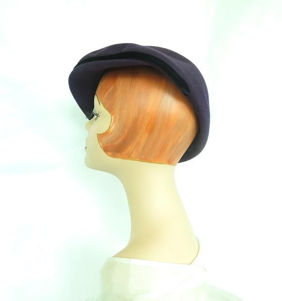Vintage purple hat, woman's 1940s tilt, rhineston… - image 5