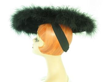 1940s black hat, woman's vintage tilt, feathers, WW2 Sunnyland