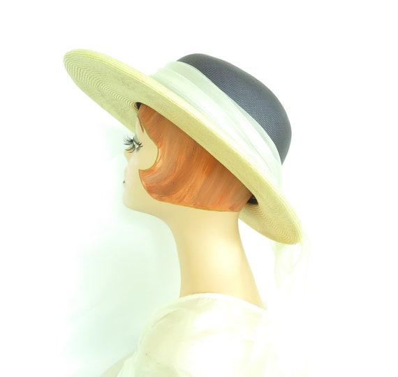 Vintage straw hat, woman's blue summer 1970s hat,… - image 4