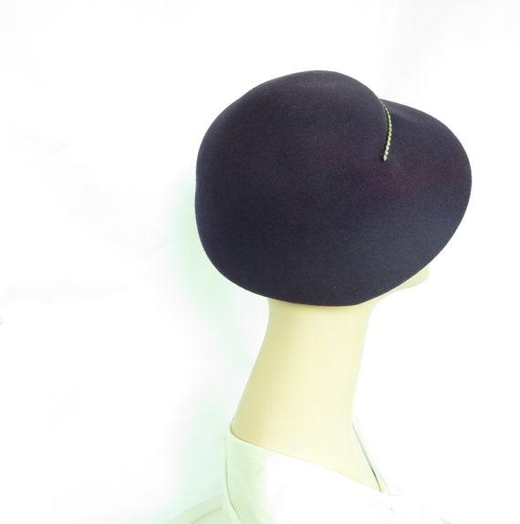 Vintage purple hat, woman's 1940s tilt, rhineston… - image 2