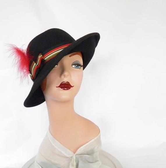 Black fedora hat, vintage woman's Fabini, 1960s 1… - image 6