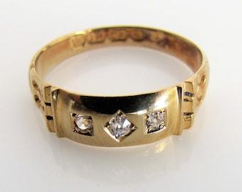 Antique Victorian 18K Gold & Diamond Gypsy Ring. Antique 18 Carat Engagement, Wedding, Past Present Future Trilogy Ring. Birmingham 1893