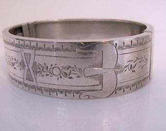 Victorian Silver Belt Buckle Bangle. English Sterling Silver Engraved Bracelet.  Antique Aesthetic Era Stacking Bracelet. Wide Hinged Bangle