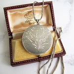 "English Silver Locket On Long Silver Chain. Aesthetic Engraved Large Round 2- Photo Locket. Vintage 1970s Sterling Locket, 26"" Rope Chain"