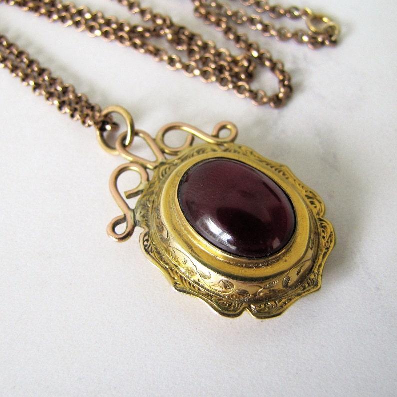 Victorian Bohemian Garnet Pendant Necklace. Antique 9ct Gold image 0