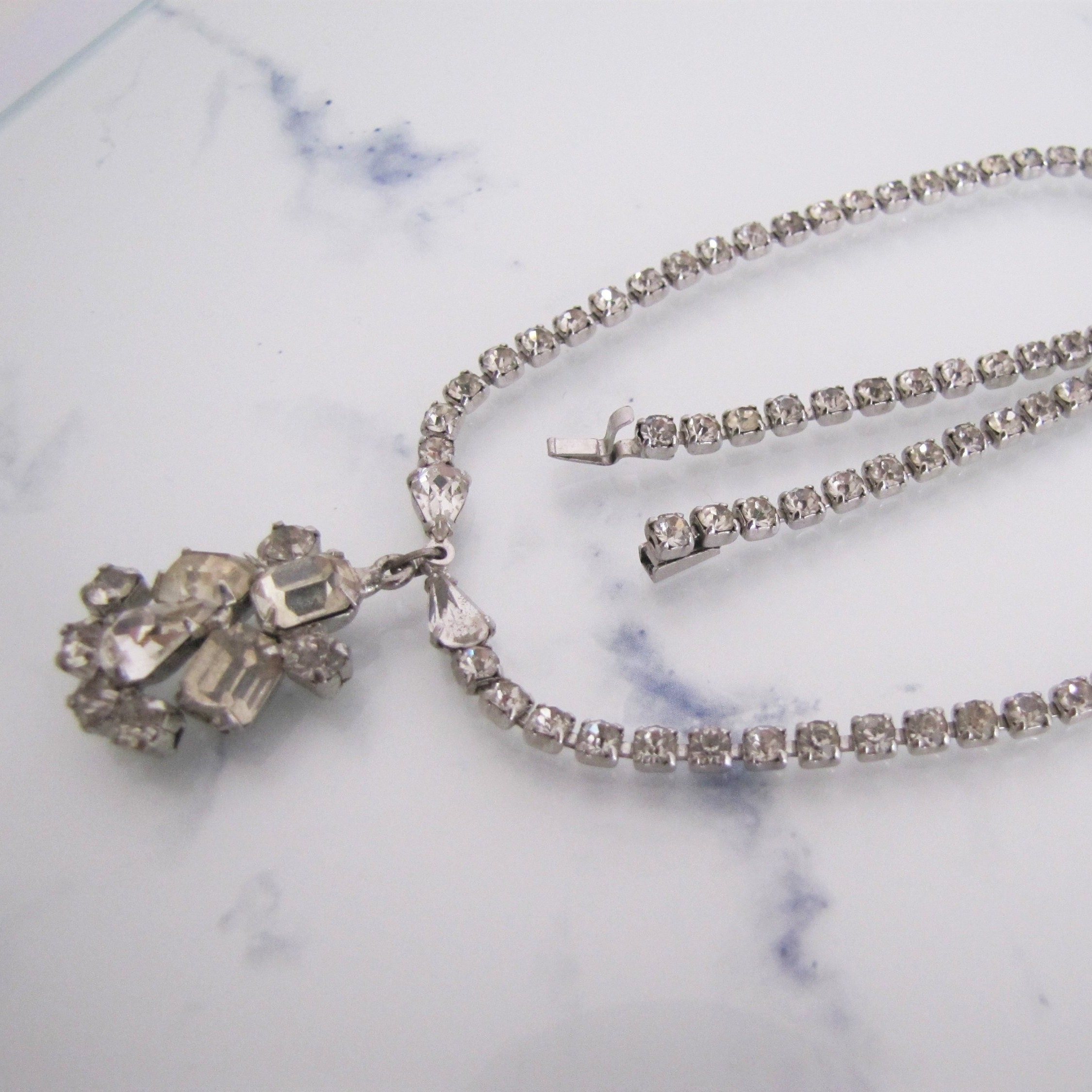 Bling Wrap Necklace Drop Rhinestone Crystal Choker Long Silver Diamante Chain