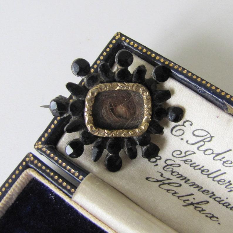 Georgian Vauxhall Glass Locket Brooch. Antique Mourning Brooch image 0