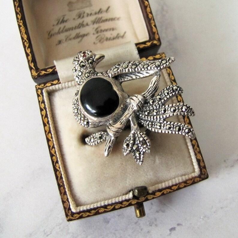 Vintage Silver Marcasite Turtle Dove Brooch. Onyx Garnet image 0