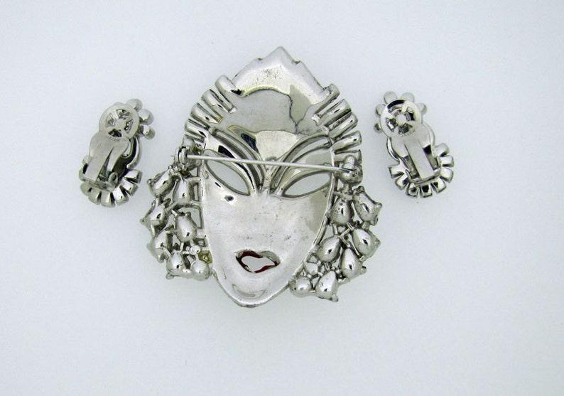 Diamante Crystal Rhinestone Brooch Book Piece. Mazer Asian Princess Face Brooch /& Earring Set Earrings 1940s American Costume Jewelry
