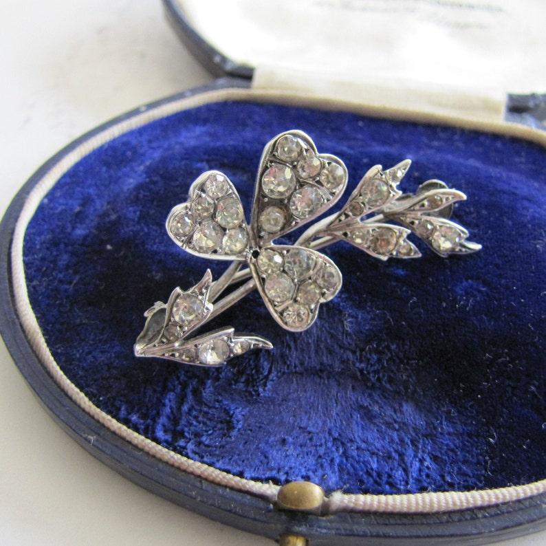 Antique Paste Diamond Silver Brooch. Cupids Arrow & Lucky image 0