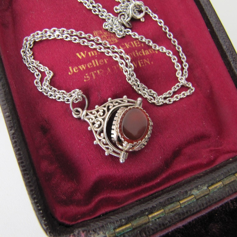 Victorian Silver Spinner Charm Pendant with Chain. Antique image 0