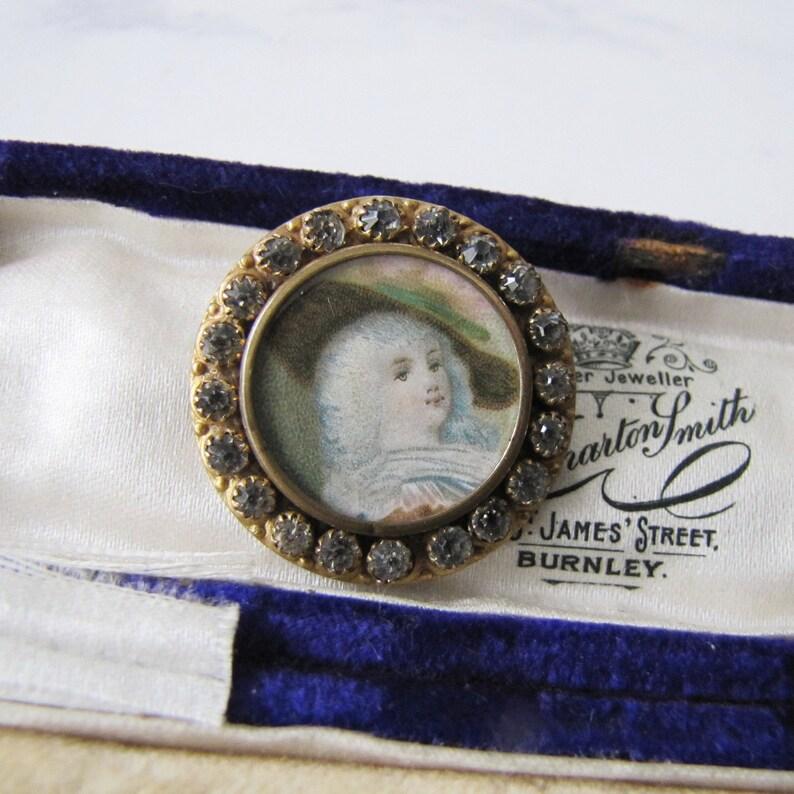 Antique French Paste Portrait Brooch Georgian Lady. Gold Gilt image 0